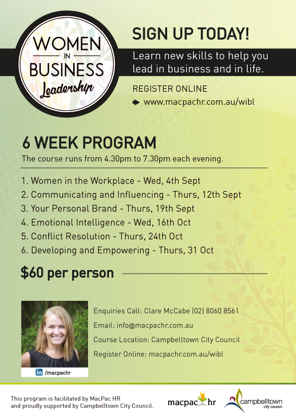Women in Business Leadership - flyer for Campbelltown Council course running in 2019.